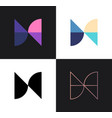 set abstract icons from 4 letters n or h - 2