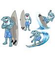 set cartoon great white shark surfing vector image vector image