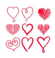 set hand drawn hearts elements for greeting cards vector image vector image