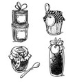 set of hand drawn mason jars with jam vector image vector image
