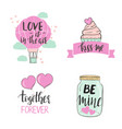 set valentines day templates with cute elements vector image vector image
