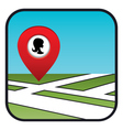 Street map icon with the pointer beauty salon vector image vector image