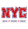 T shirt typography graphic New York chic hearts