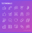 testimonials and quote thin line icons set vector image