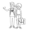 tourist couple cartoon vector image