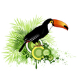 Tropical flowers green palm and bird vector image vector image