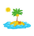 tropical ocean island icon with palm tree cartoon vector image vector image