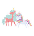 unicorns animals magic cartoon isolated icon vector image