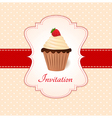 Vintage card with strawberry cupcake vector image vector image