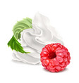 whipped cream and raspberry vector image