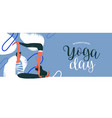 yoga day banner happy couple exercising vector image vector image