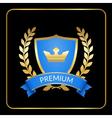 Laurel wreath gold icon shield crown vector image