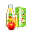 apple juice in glass bottle and packaging 3d vector image