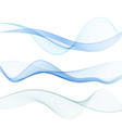 abstract blue wave on a white background set blue vector image
