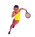 african-american woman in a yellow sports suit vector image