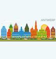 antwerp belgium city skyline with color buildings vector image vector image