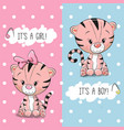 baby shower greeting card with tigers vector image