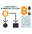 bitcoin cashflow flat icon with collection vector image vector image