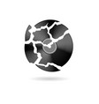 black vinyl record symbol cracked vector image