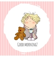 bobblehead with curled hair wish card vector image