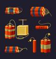 bundle explosives set red sticks dynamite vector image vector image