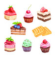 cake and pastry set of watercolor dessert vector image vector image