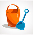 cartoon bucket and scoop vector image vector image