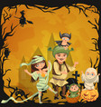 cartoon family halloween poster vector image vector image