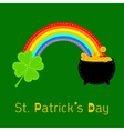 Clover leaf pot gold and rainbow St Patricks day vector image
