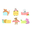 cute animals holding banners set adorable happy vector image vector image