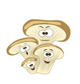 cute cartoon smiling oyster mushrooms vector image