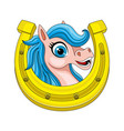 cute horse and horseshoe vector image vector image