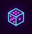 dice neon sign vector image vector image