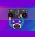 dj playing vinyl on neon color light vector image