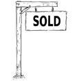Drawing of hanging wooden sign board with text