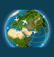earth with aircraft paths vector image vector image