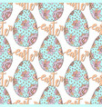 easter pattern with hand drawn eggs and lettering vector image