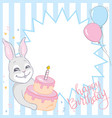 frame with cute bunny and balloons helium vector image vector image