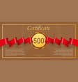 gift certificate with red award ribbon template vector image vector image