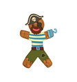 gingerbread man in costume of pirate christmas vector image