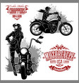 girls ride a motorbike biker party poster design vector image vector image