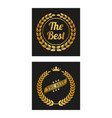 golden laurel wreath in two versions vector image vector image