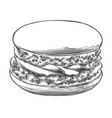 Hand drawn sketch of macaron in black isolated on