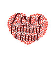 hand lettering with bible verse love is patient vector image vector image