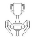 hands holding trophy award cup vector image vector image