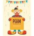 happy purim jewish holiday clown holding vector image vector image