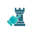 human chooses a rook chess colored icon board vector image vector image