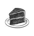 ink sketch chocolate cake vector image vector image