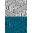 isometric shipping containers vector image