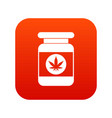 jar of powder marijuana icon digital red vector image vector image